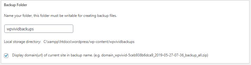 Set Backup Directory WPvivid