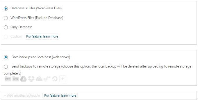 Backup Scheduling Storage