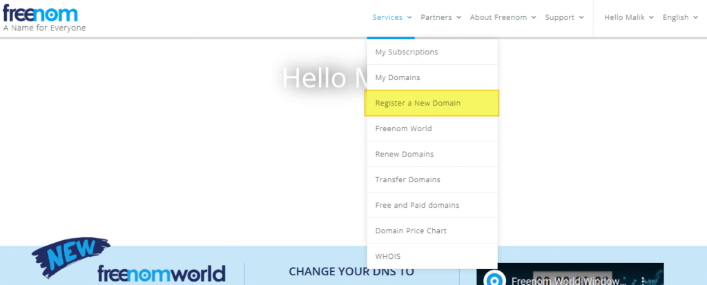 Registering a free Domain