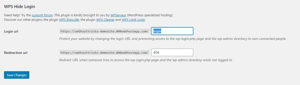 change-URL with WPS hide login