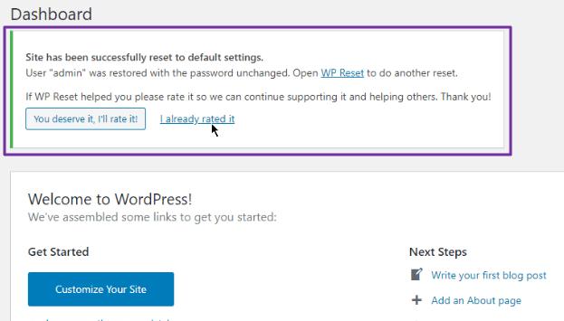 WP Reset - Reset all Data