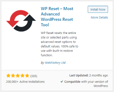 WP Reset - Reset WordPress site Plugin