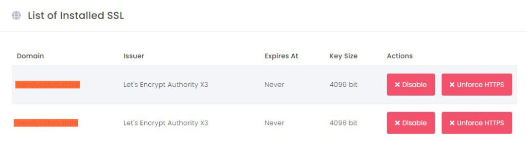 list of SSL website