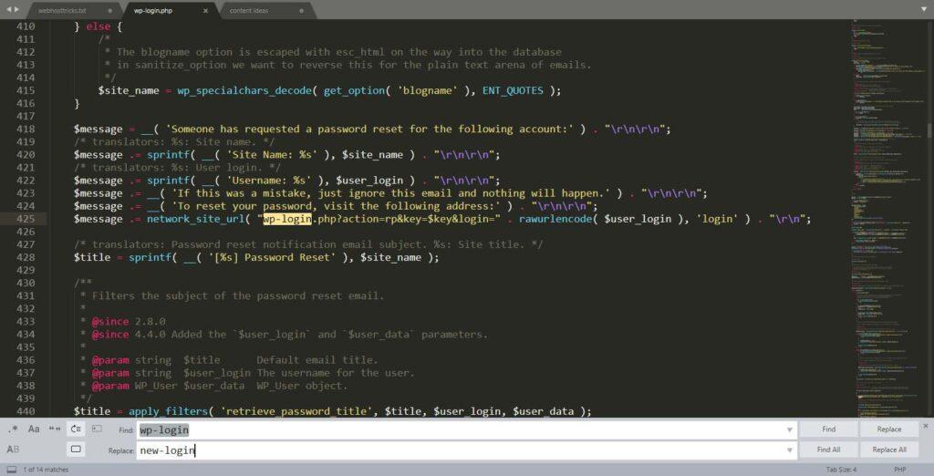 Edit wp-login.php file for change wordpress login url