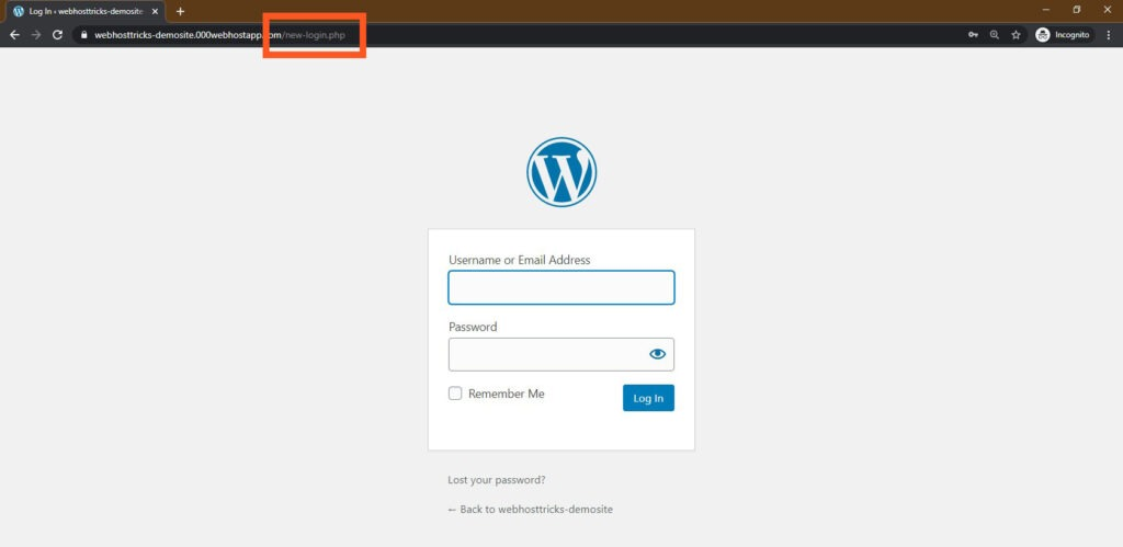 New login Page Test