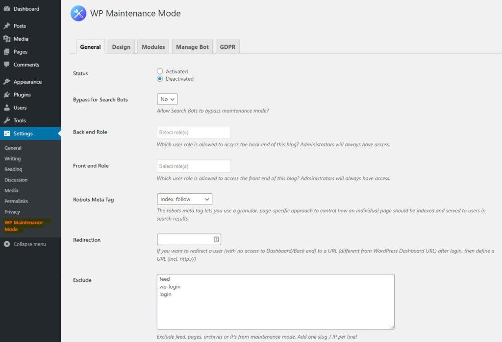 General Settings - WP Maintenance Mode