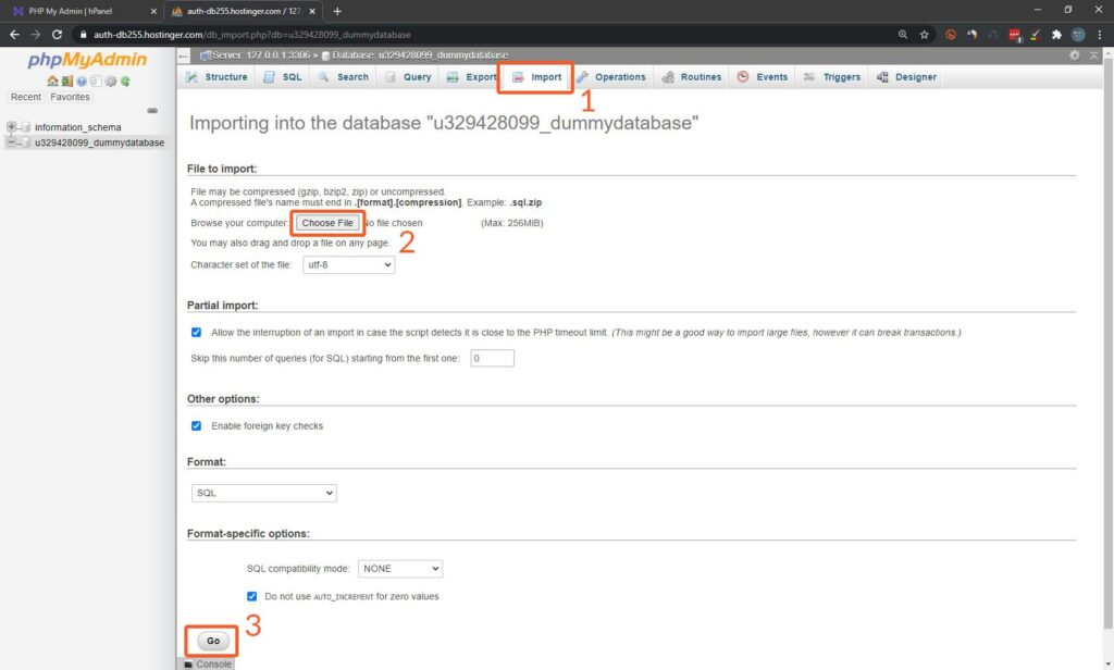 import database in phpMyAdmin