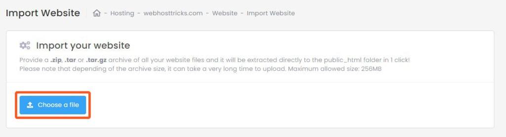 import website - choose a file