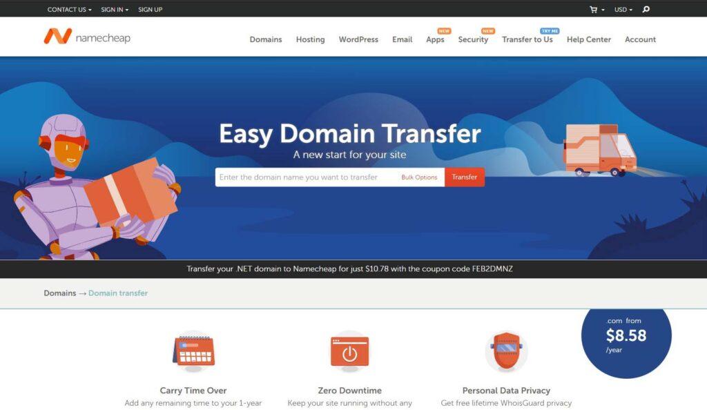Namecheap easy domain transfer