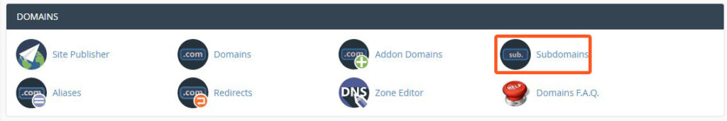 cpanel domain section